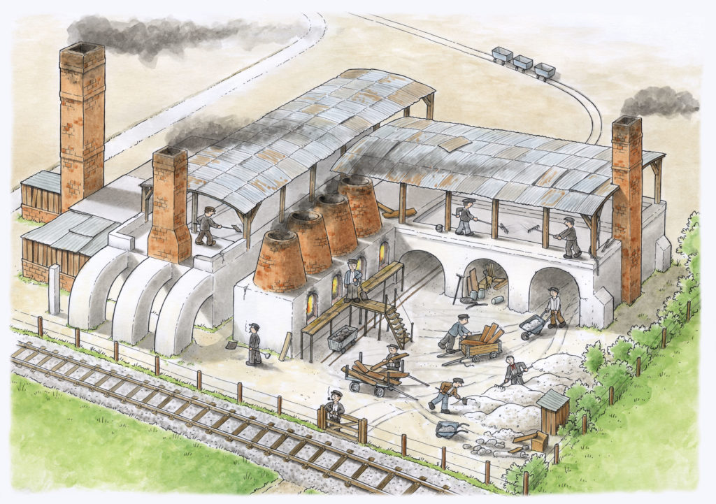 Artist's impression of how the kilns might have looked in operation