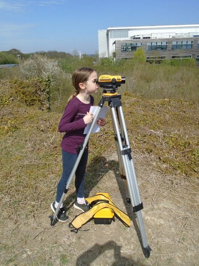 Nancy, our youngest volunteer, records the heights above sea level