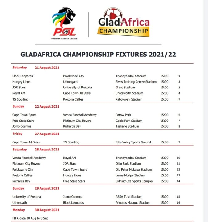 PSL Places Royal AM in New GladAfrica Championship Fixture List!