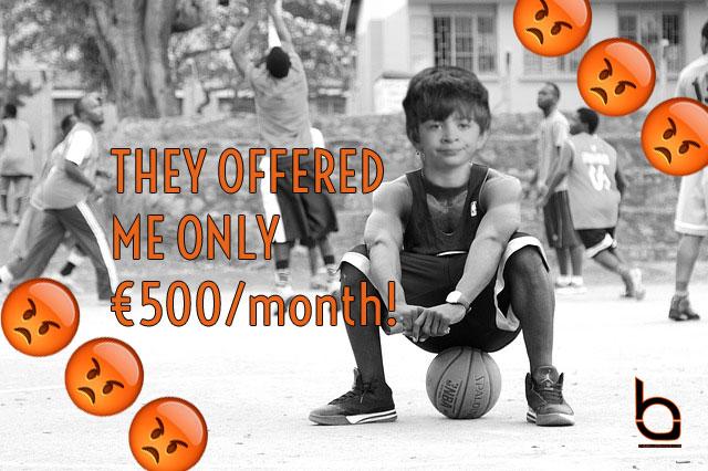 500 euros a month basketball overseas