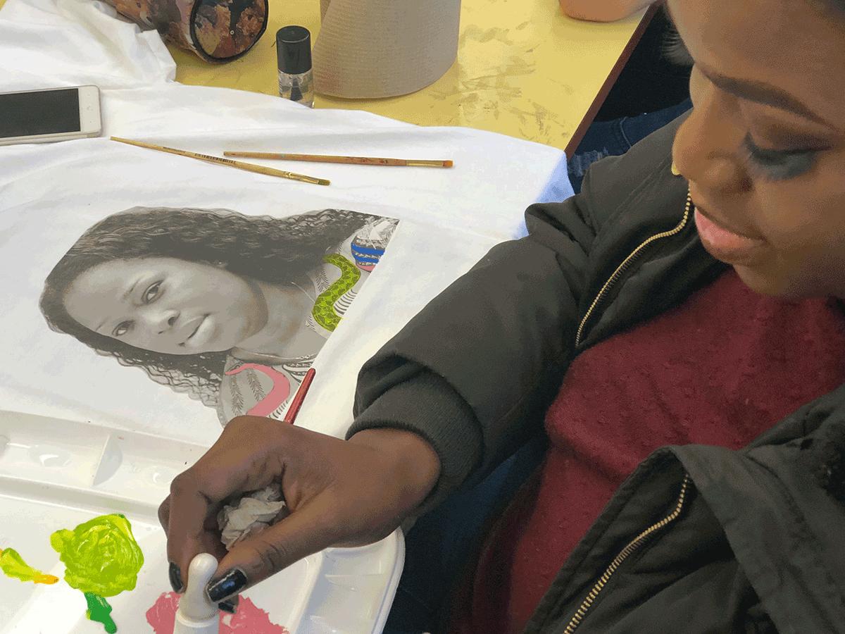 Student working on art piece