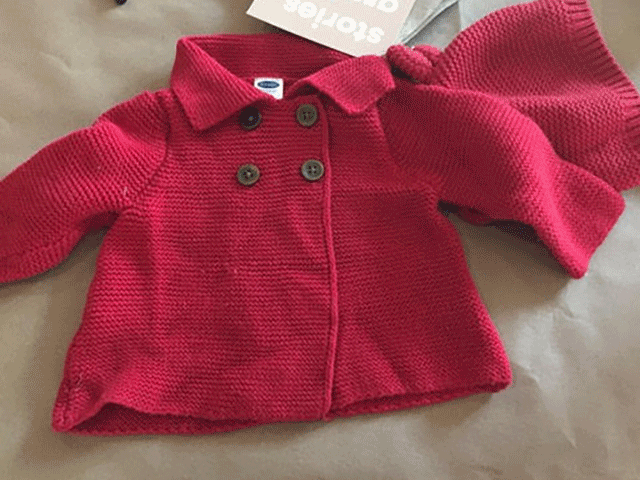 Red baby's sweater