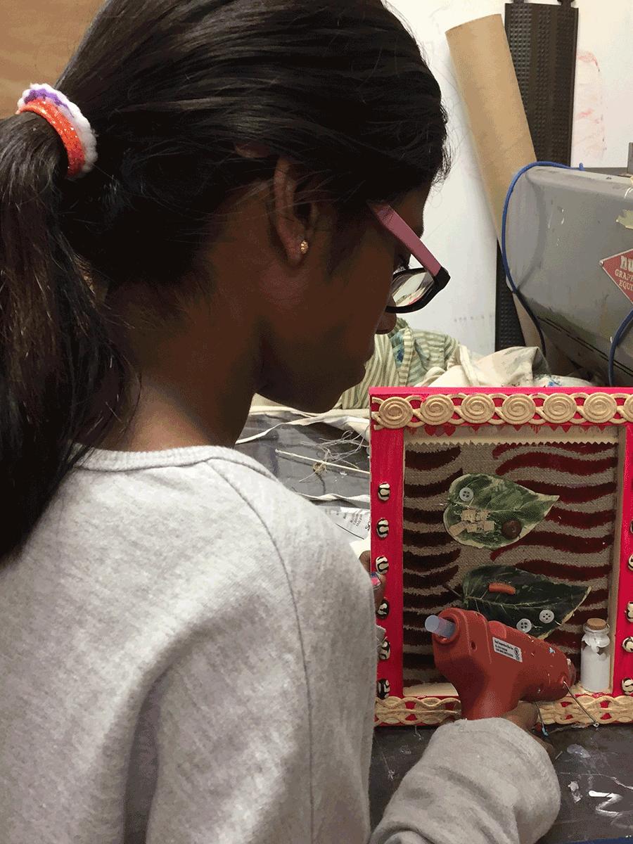 Students making artwork