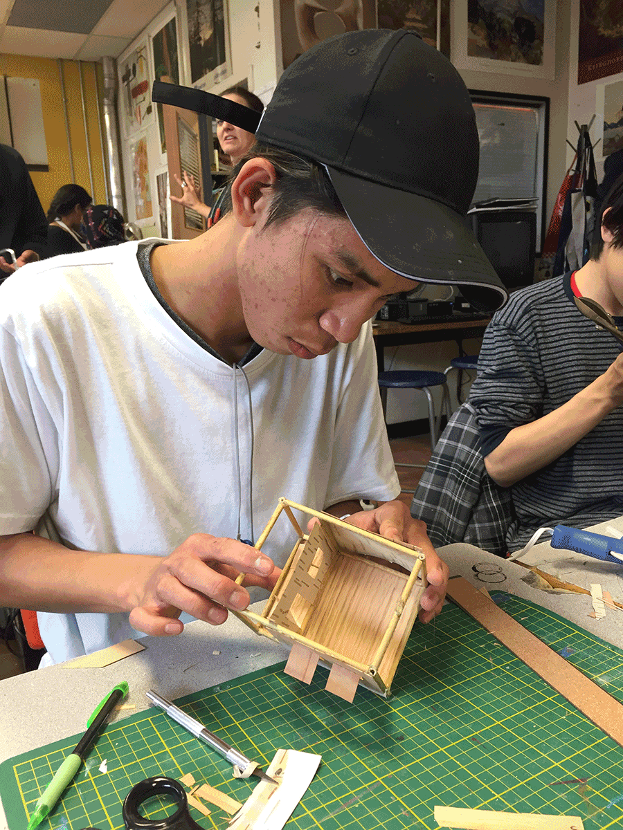 Students making artwork