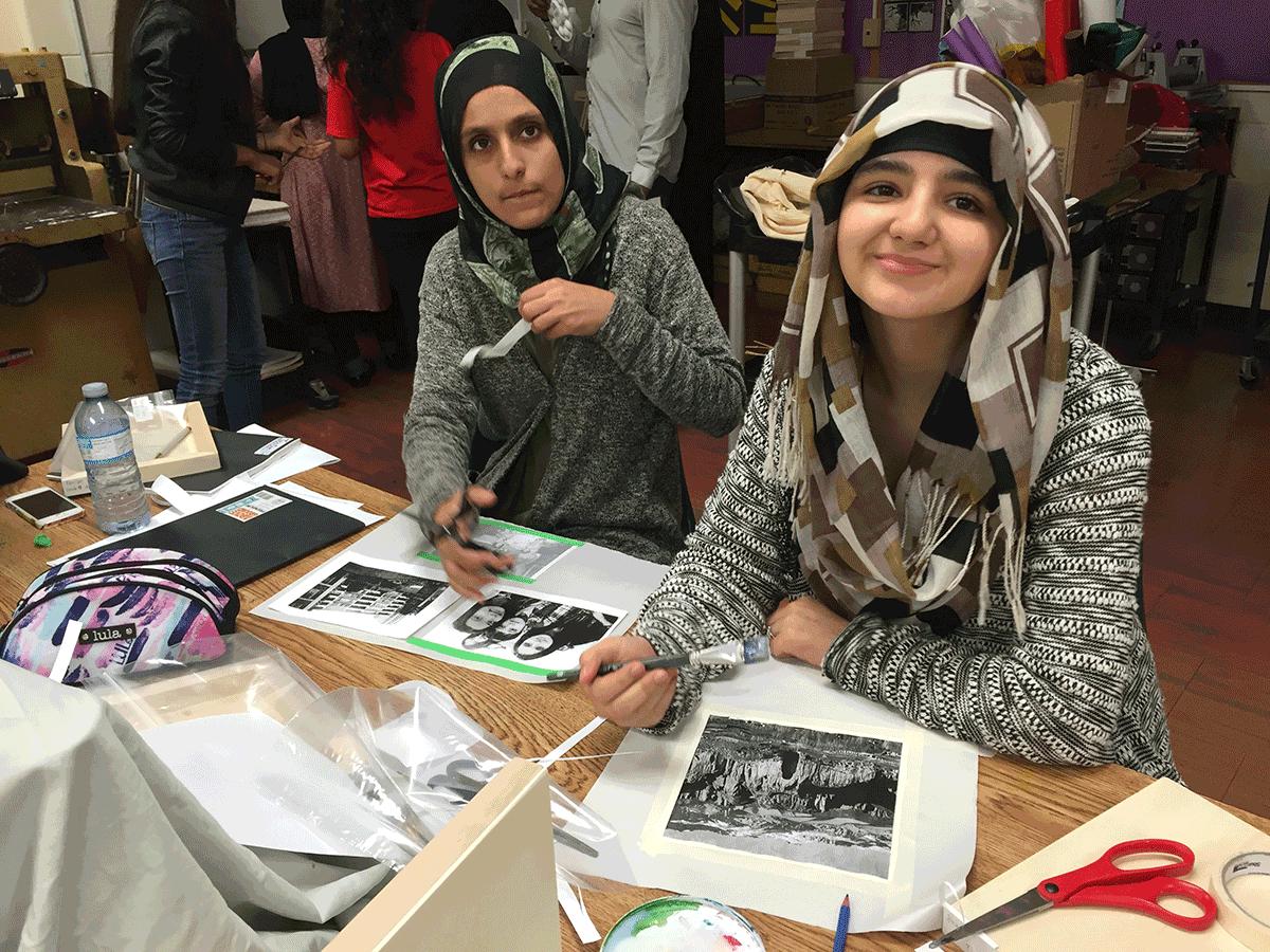 Students making art work