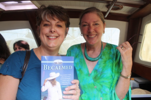 Daria also took this of Claudia, one of our guests, holding her newly signed copy of Becalmed