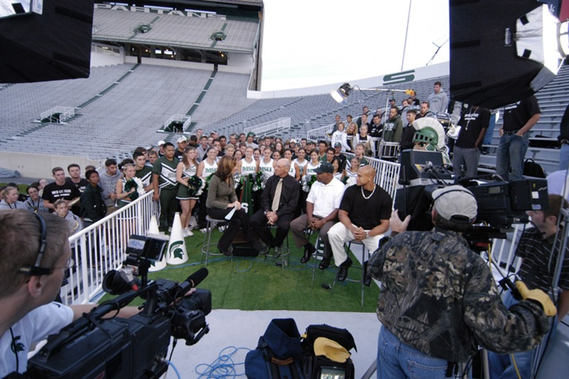 "Future Media Corporation provided location video, audio and lighting services for ESPN's live program ""Cold Pizza"" at Michigan State University's football stadium."