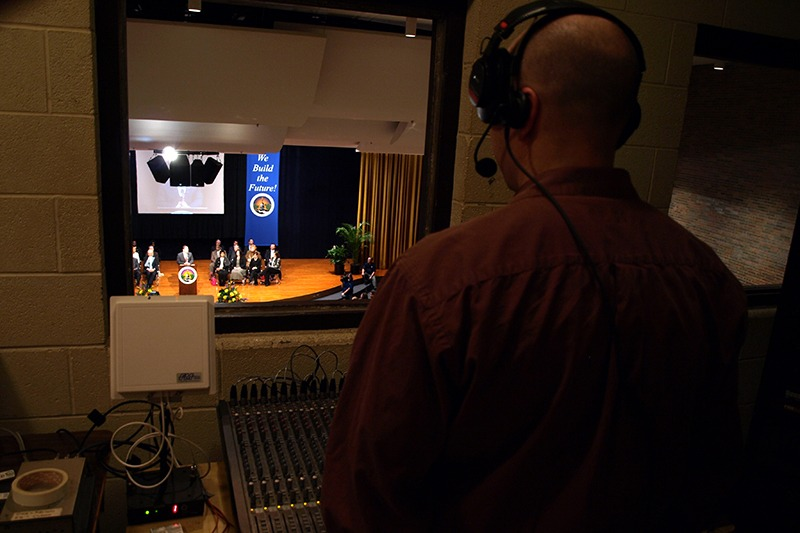 Mayor Virg Bernero's State of the City address at the Hill Community Center Auditorium in Lansing Michigan. Future Media Corporation provided audio, lighting and executive teleprompter services.