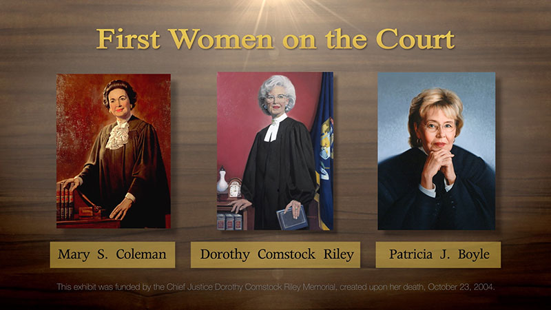"""First Women on the Court"" interactive touch screen menu - Mary S. Coleman, Dorothy Comstock Riley and Patricia J. Boyle pictured. Produced by Future Media Corp. for the Michigan Supreme Court Historical Society."