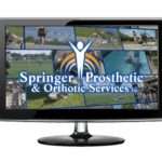 "Video monitor with Springer Prosthetics ""Collage"" image, collage of images in the background with Springer Prosthetics logo."