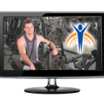 "Video monitor with Springer Prosthetics ""Uplifting"" image, man with weight room in the background."