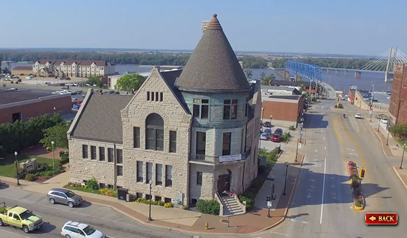 The Historical Society of Quincy and Adams County Illinois - touch screen video - museum exterior, drone footage