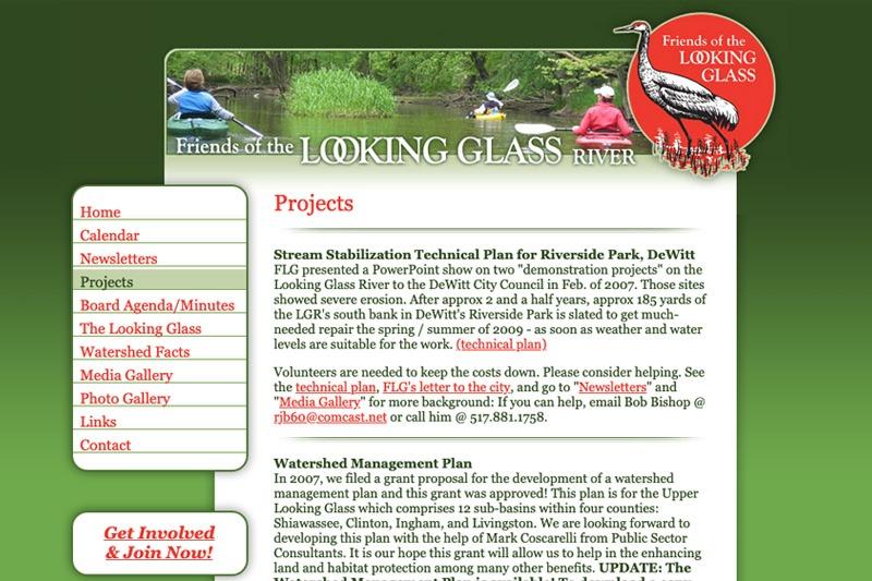Friends of the Looking Glass River – Projects page, designed by Future Media Corporation