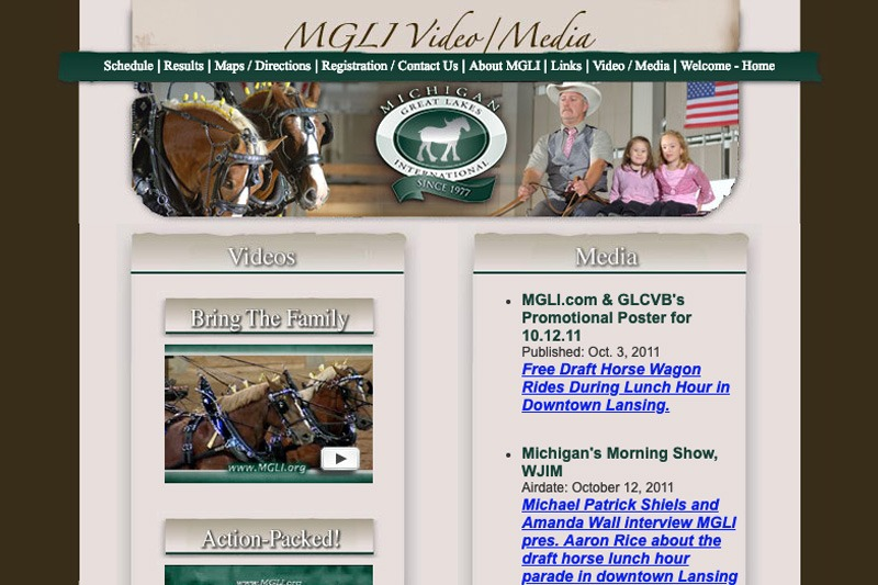 MGLI.org – Video/Media page, designed by Future Media Corporation
