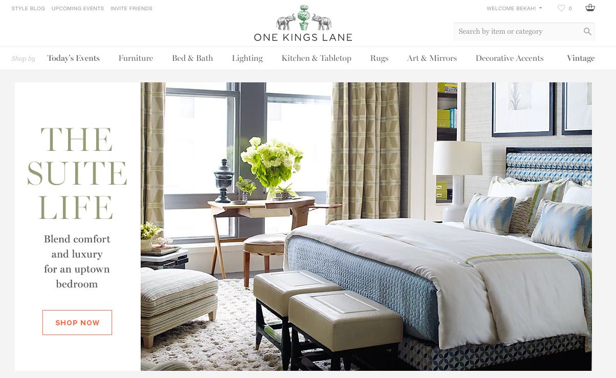 Screenshot of the One Kings Lane Website