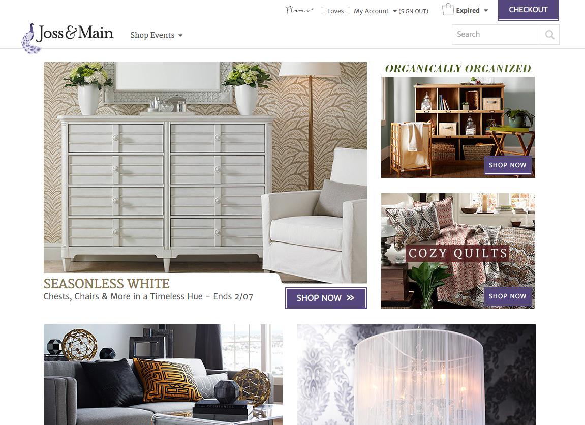 Screen Shot of the Joss & Main Website