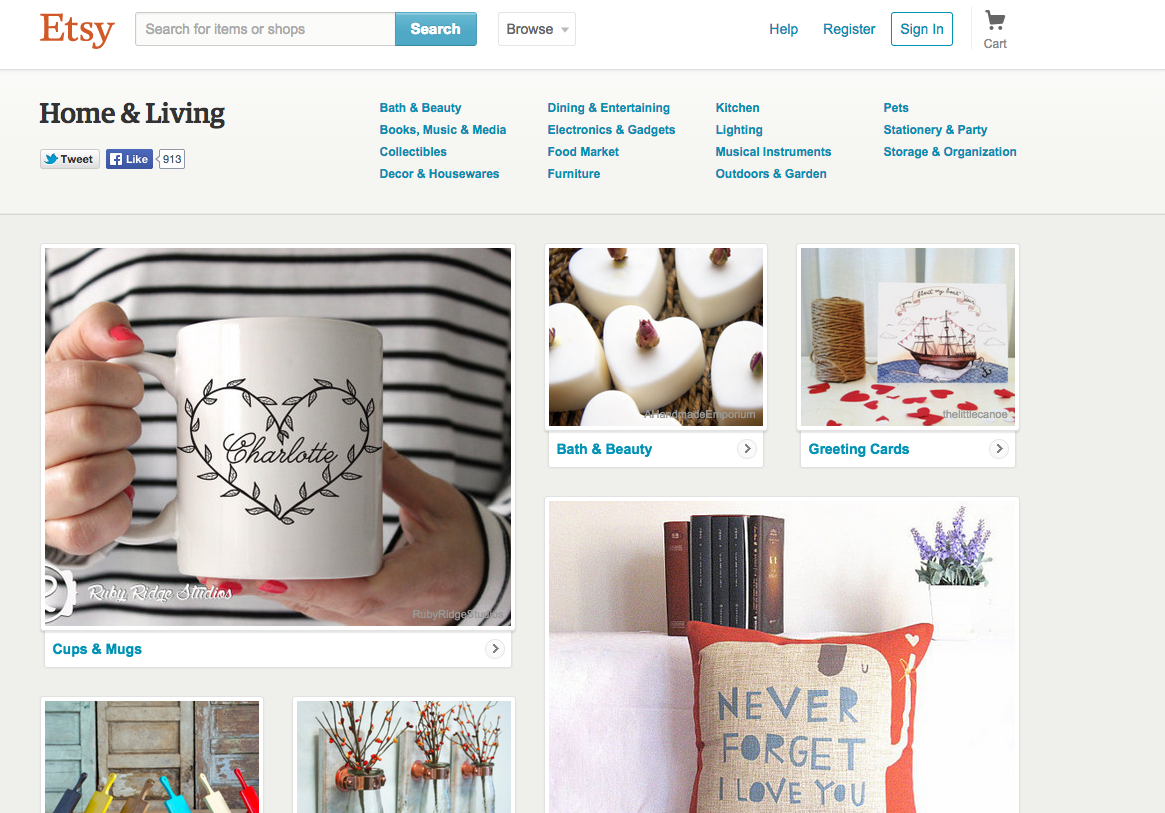 Screen Shot of the Etsy Website