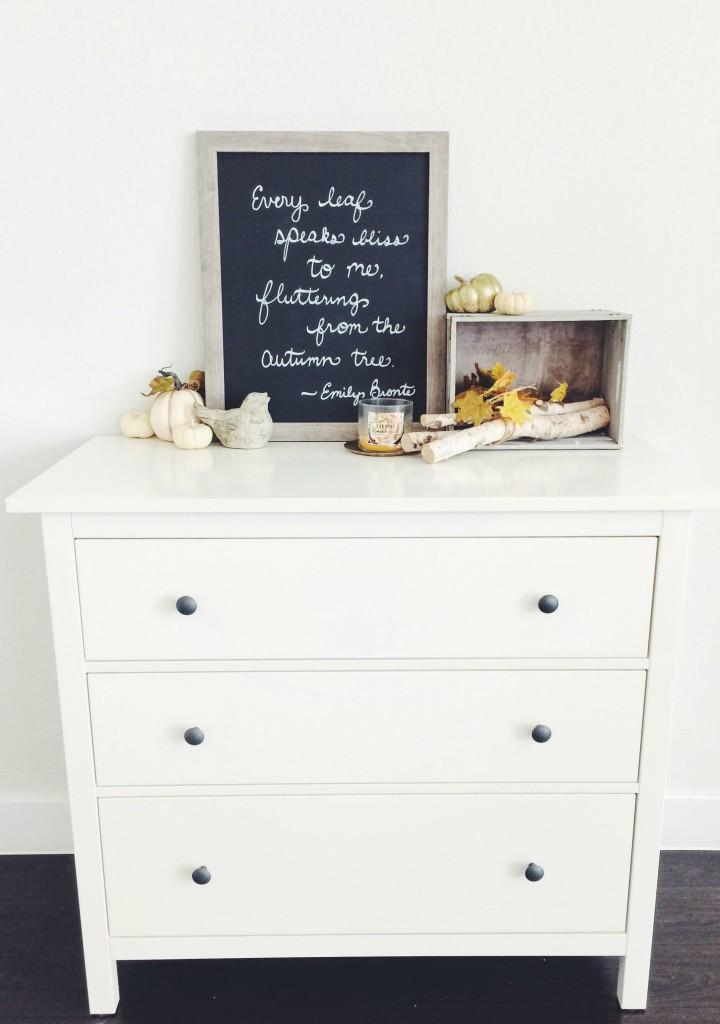 Autumn decor on top of white dresser