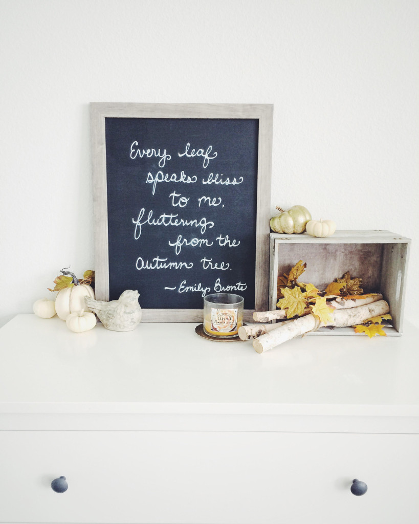 Autumn decor close up on top of white dresser with chalkboard print