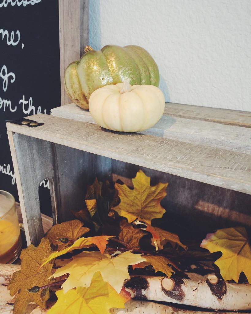 Mini pumpkins on top of grey wood crate and orange leaves below