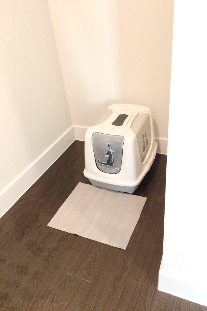 Neat and tidy hallway nook after being organized with cat litter box and grey mat