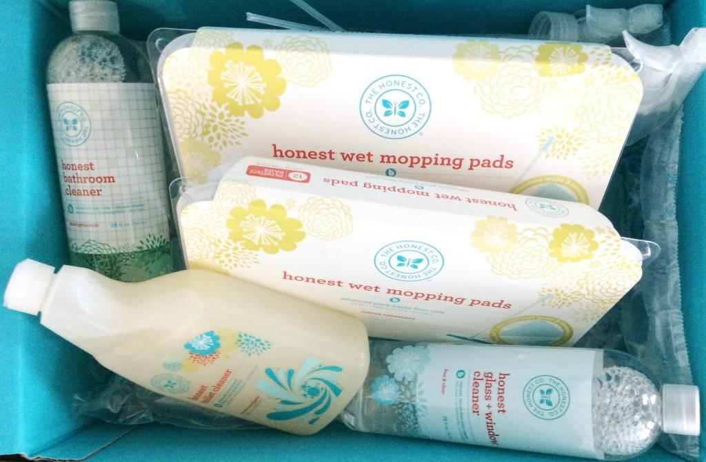 Honest company cleaning products inside aqua box