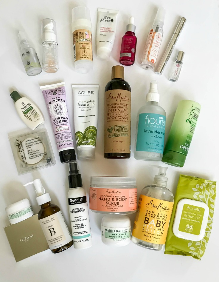 beauty and body product empties