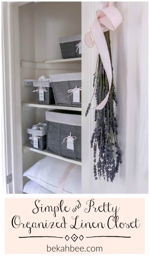 simple and pretty linen closet organization