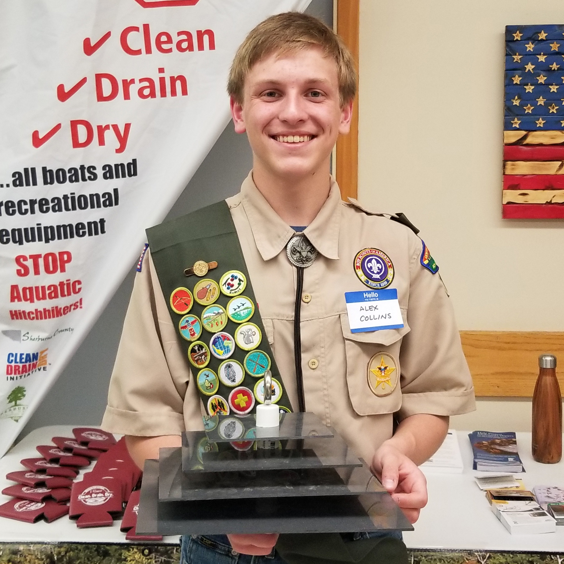 Eagle Scout Alex Collins with zebra mussel detector