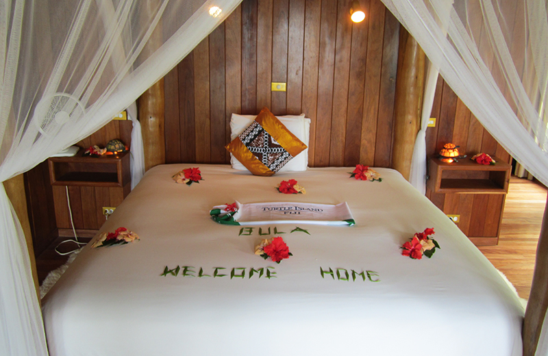 Welcome message waiting on our bed.Photo: Chris Ashton