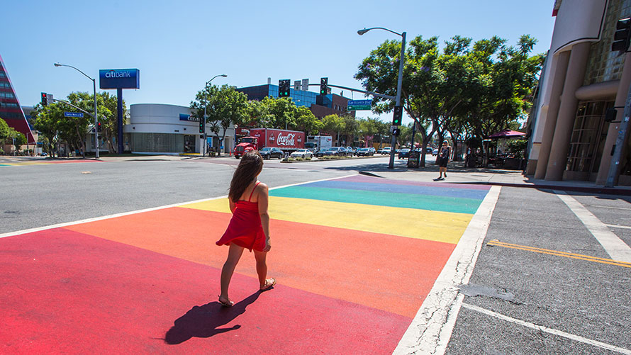 Hollywood rainbow crossing.  Supplied.