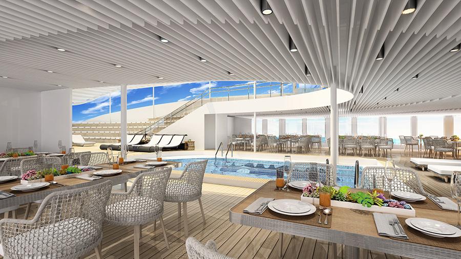 A render of the newAraMana pool area. Credit: Aranui Cruises