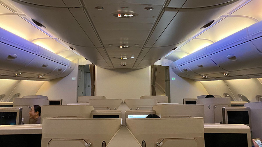 The Asiana Airlines 'Business Smartium Class' cabin. Credit: Chris Ashton
