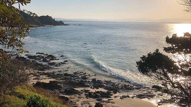 Wategos Beach at sunset. Credit: Chris Ashton