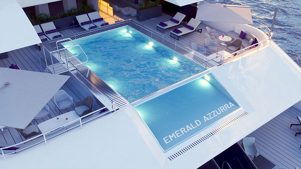 The Emerald Azzurra pool deck. Credit: Evergreen Cruises & Tours