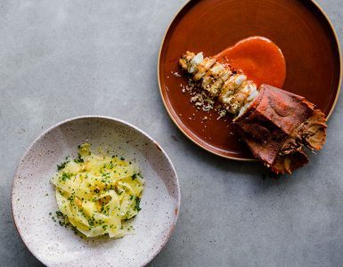 Glazed bay lobster with potato noodles, lemon and garlic. Credit: Sabine Bannard