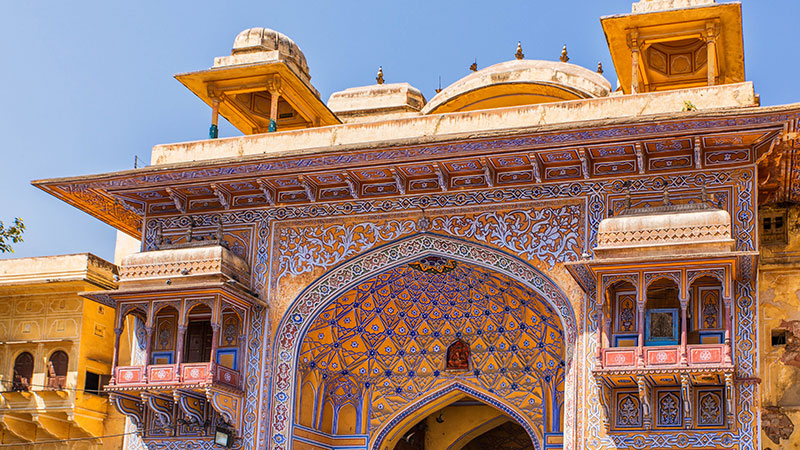 The opulent mosaics of Jaipur's City Palace. Credit: Supplied.