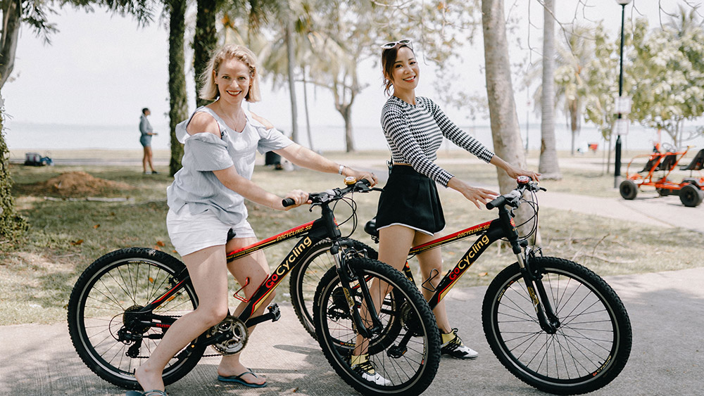 Rebecca Assice and Xie explore Changi. Credit: Supplied