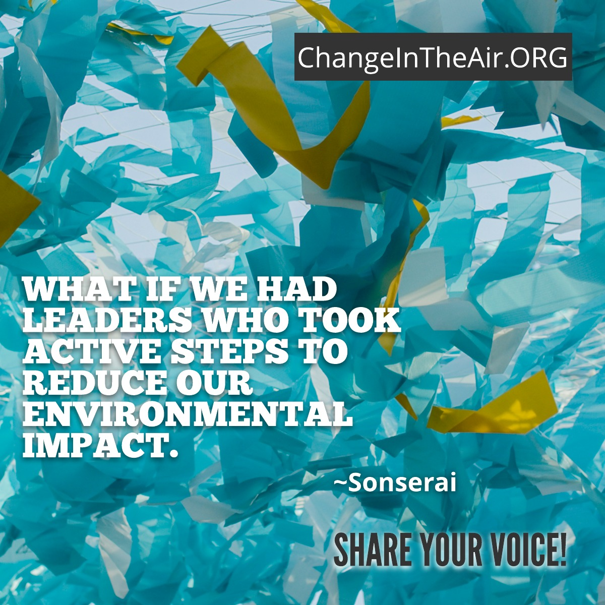 Change in the Air message. What if we had leaders who took active steps to reduce our environmental impact?