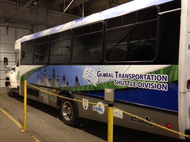 Bus fleet global transportation shuttle side rear
