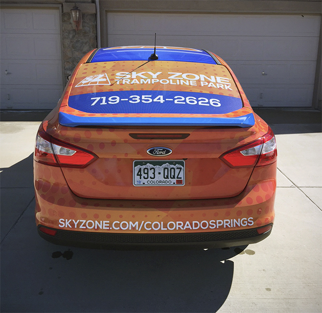 car advertising: vinyl car wrap skyzone