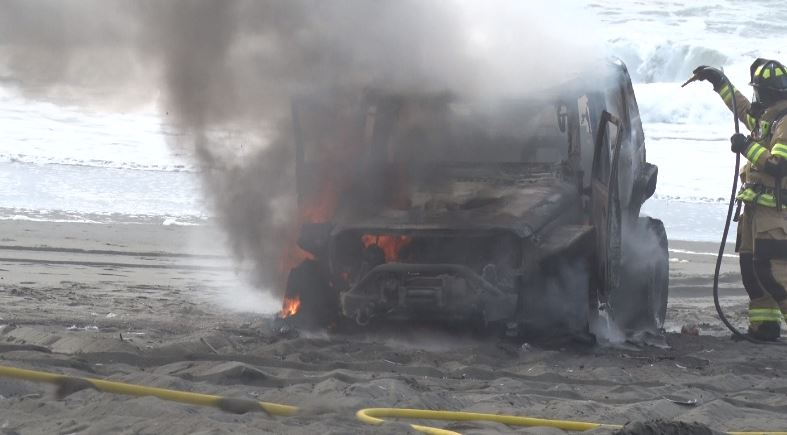 Jeep Destroyed By Fire Near South Jetty Road