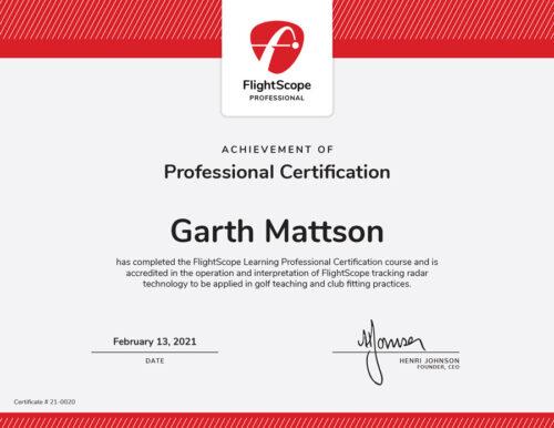 FlightScope Certificate
