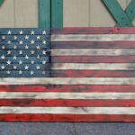 Wooden flag red white blue color
