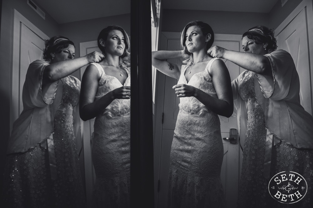 A bride getting ready at her  Irongate Equestrian Center Wedding