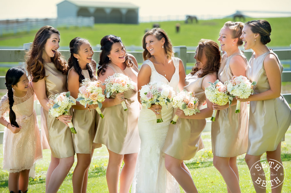 Bridesmaids smiling at an  Irongate Equestrian Center Wedding