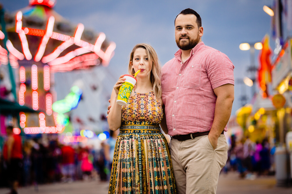 Bride drinking a lemon shakeup at the Ohio State Fair