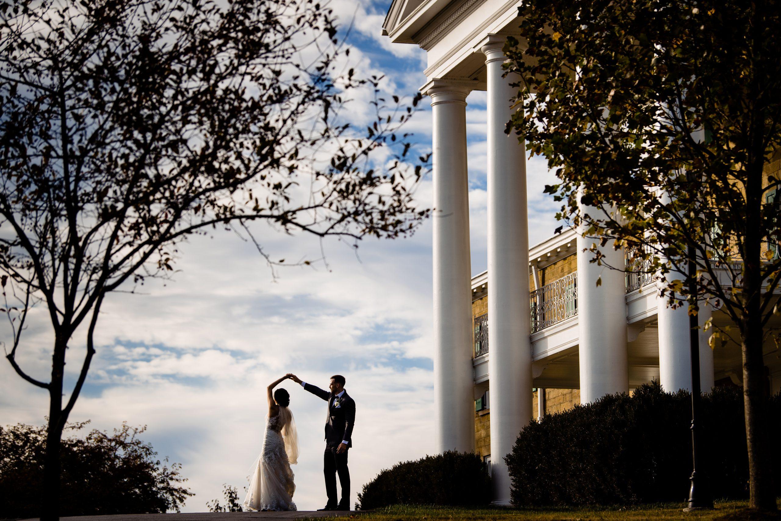 Bride and Groom at Bryn Du Mansion