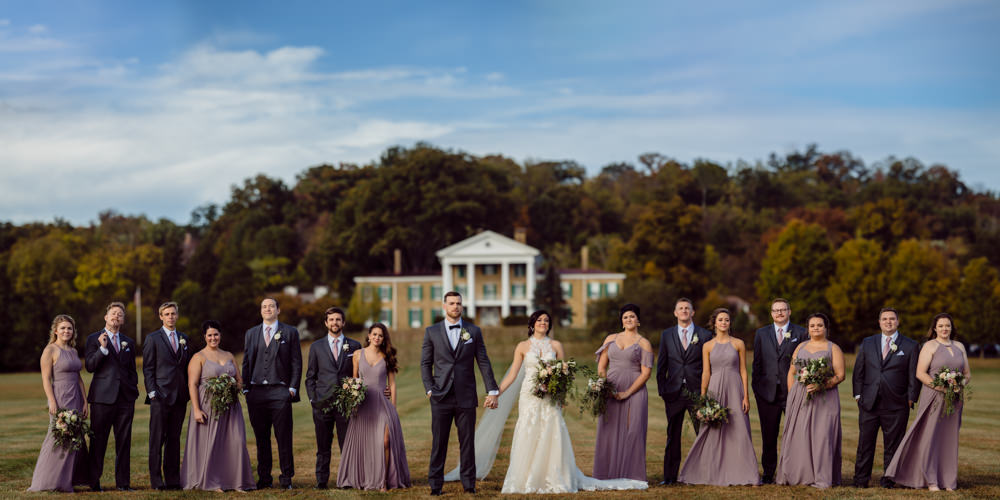 Bridal Party standing in front of Bryn Du Mansion in Granville, Oh