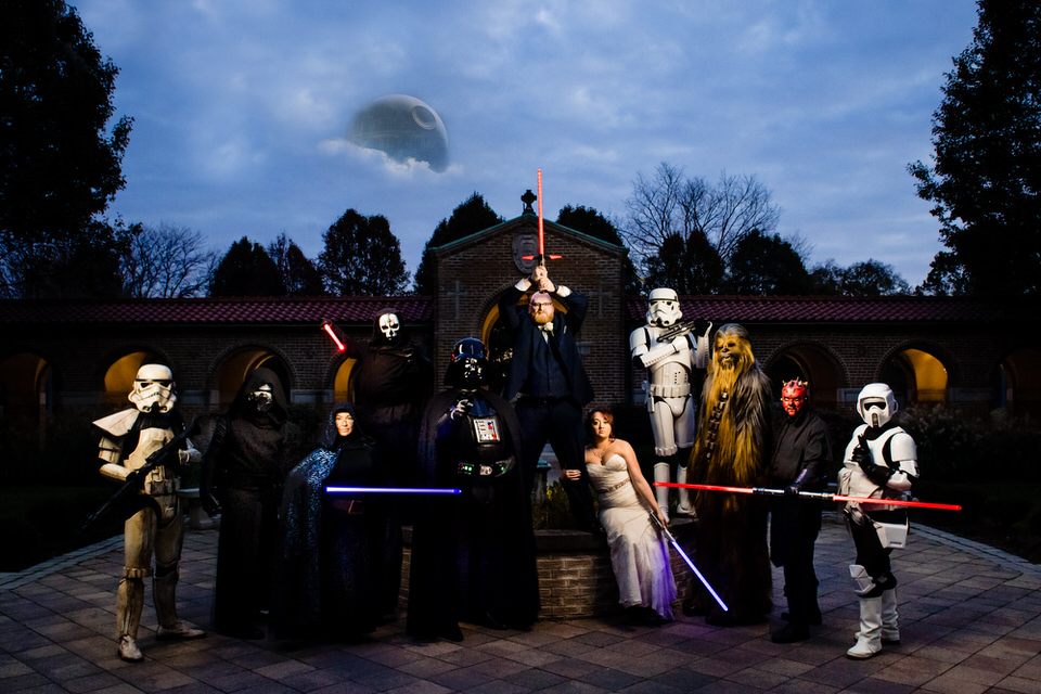 Star Wars pose with Bride and Groom in Columbus, Ohio